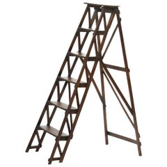 Old Folding Stepladder Made of Wood, France, circa 1930