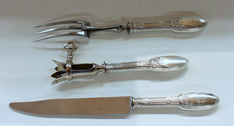 20th Century Old French .950 Fine Silver Neoclassical Design 3-Piece Carving Set Original Box For Sale
