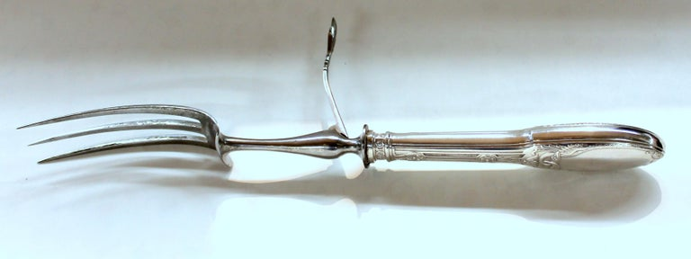 Old French .950 Fine Silver Neoclassical Design 3-Piece Carving Set Original Box For Sale 1