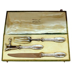 Old French .950 Fine Silver Neoclassical Design 3-Piece Carving Set Original Box