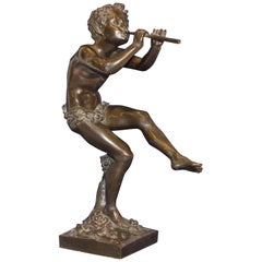 Old French Bronze Sculpture after Clodion, Mythical Faun Game