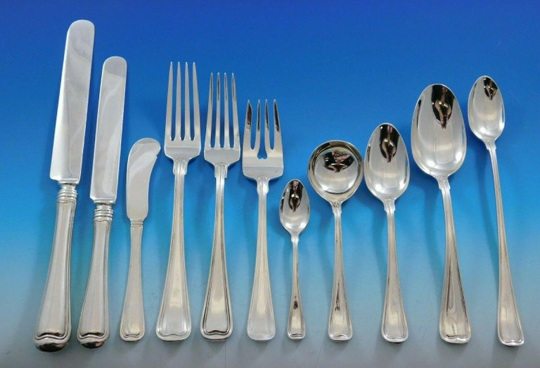 Monumental old French by Gorham sterling silver flatware set, 217 pieces. This set includes:  12 dinner size knives, 9 3/4