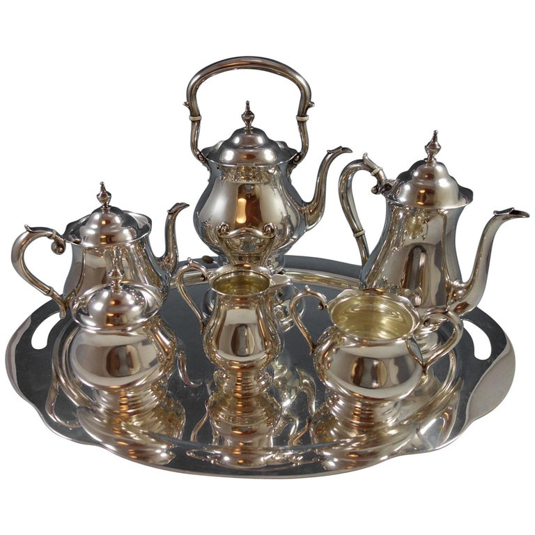 Old French by Gorham Sterling Silver Tea Set Six Piece w Tray Exceptional #1639 For Sale