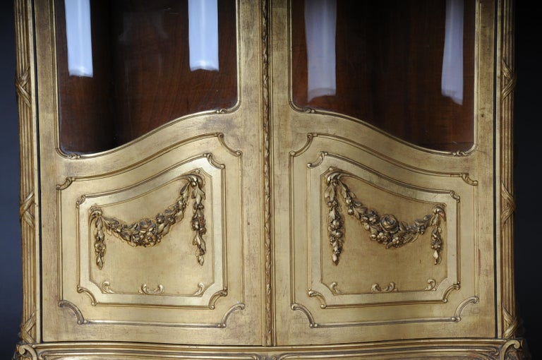Hand-Carved Old French Cabinets Showcase in Louis XV, circa 1900 For Sale
