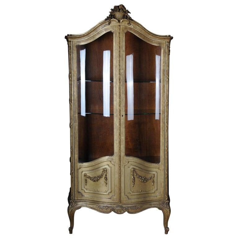 Old French Cabinets Showcase in Louis XV, circa 1900 For Sale