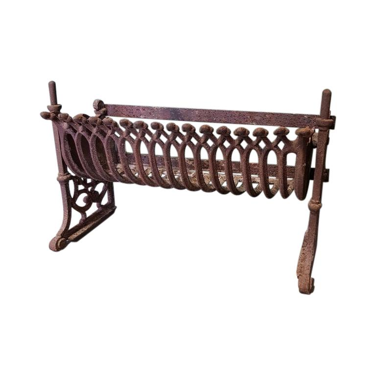 Old French Cast Iron Fireplace Grate with Dollar-Like Signs For Sale