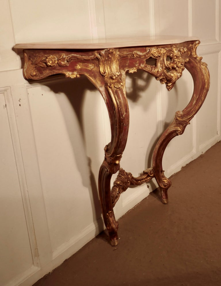 Old French gilt console or hall table