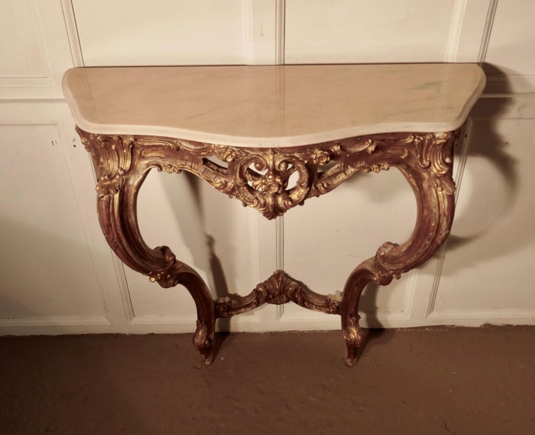 Marble Old French Gilt Console or Hall Table For Sale