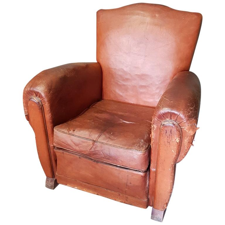 Superb Old French Leather Lounge Chair From The 1930S 1940S Frankydiablos Diy Chair Ideas Frankydiabloscom