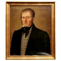 Old French Painting Portrait of a Nobleman with Golden Frame