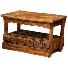 "Old French Pine 15 Wine Bottle Storage Cabinet with ""Saint-Estephe"" Inscription"