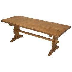 Old French Pine Trestle Style Dining Table or Farm Table Structurally Restored