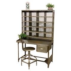 Old French Postal Sorting Cabinet, Vintage Desk, All Metal 1950's