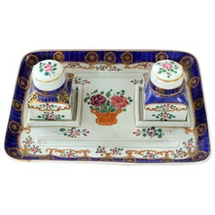 Old French Samson-Style Hand-Painted Porcelain Two-Bottle Inkstand