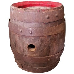 Old French Wooden Beer Barrel, from the First Half of the 20th Century