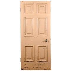 Old Georgian Six Beaded Panel Pine Door, 20th Century