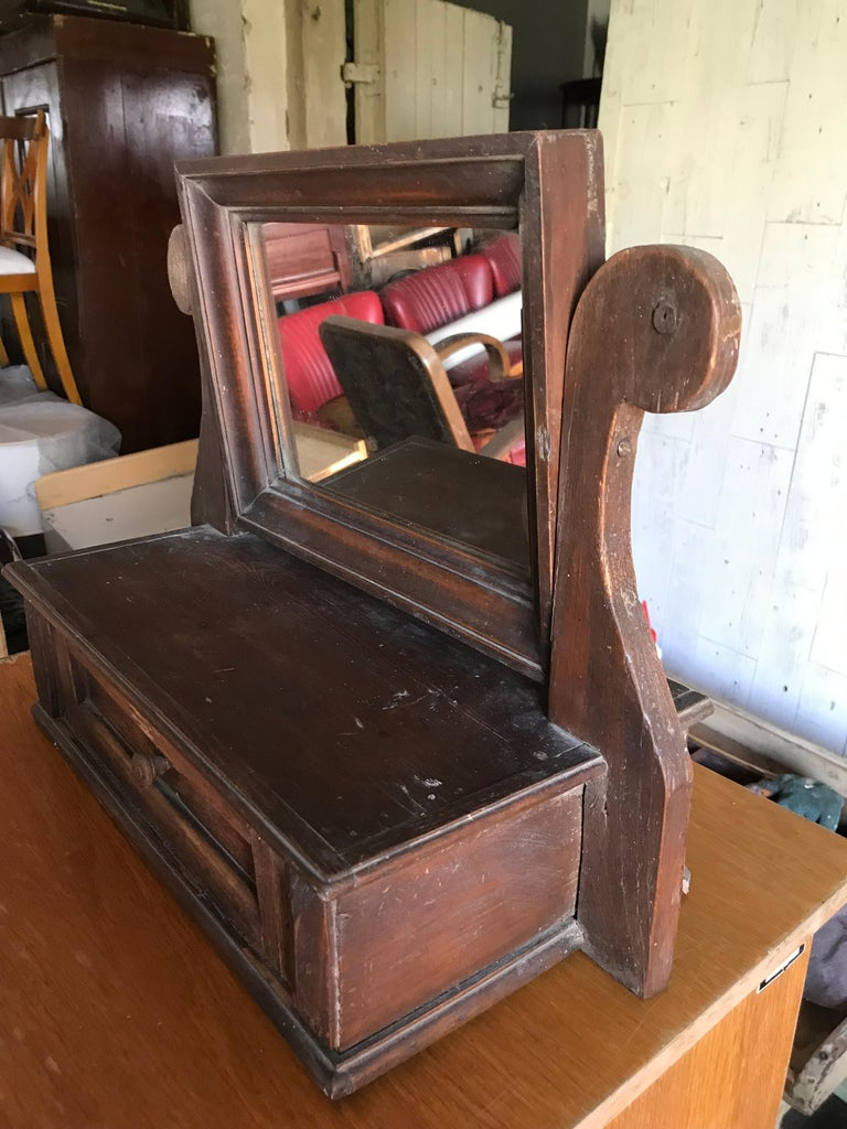 Early 20th Century Old German Style Wood Mirror For Sale