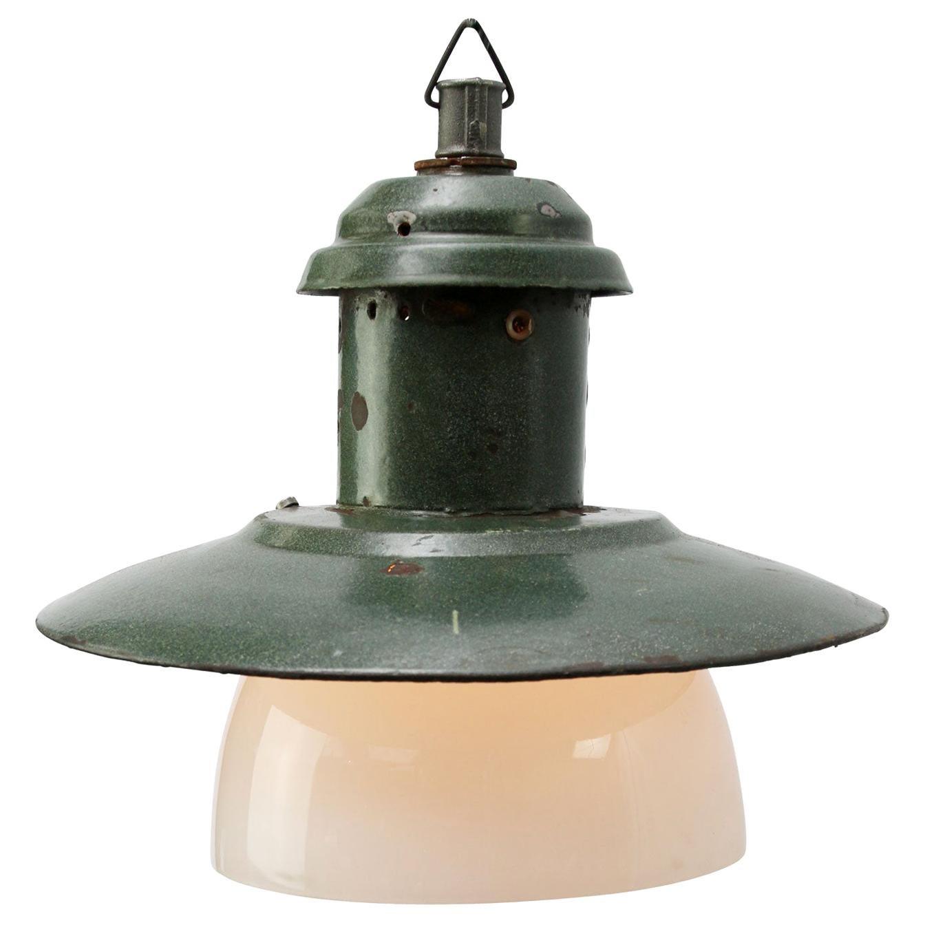 Old Green Enamel Vintage Industrial Opaline Glass Pendant Lights