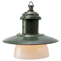 Old Green Enamel Vintage Industrial Opaline Glass Pendant Lights
