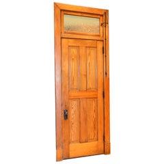 Old-Growth Douglas Fir Transom Door Unit with 4-Panel Door
