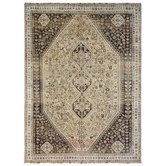Old Handmade Beige Persian Qashqai Bohemian Sheared Low Natural Wool Rug