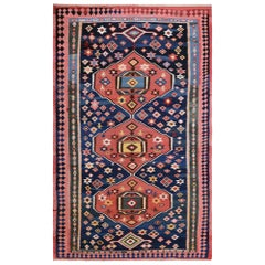 Mid-20th Century Handwoven Caucasian Kilim Carpet