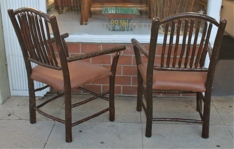 Country Old Hickory Armchairs, Pair For Sale