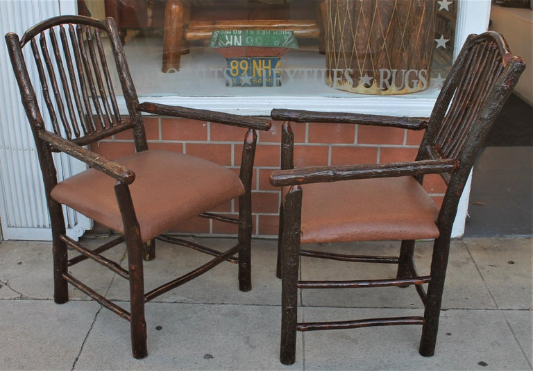 American Old Hickory Armchairs, Pair For Sale