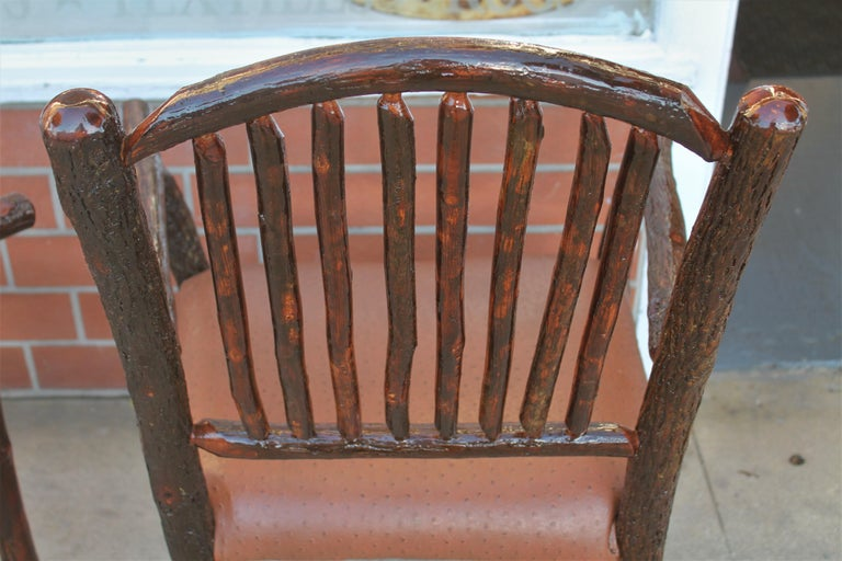 Hand-Crafted Old Hickory Armchairs, Pair For Sale