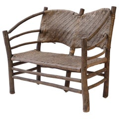 Old Hickory Barrel-Back Settee