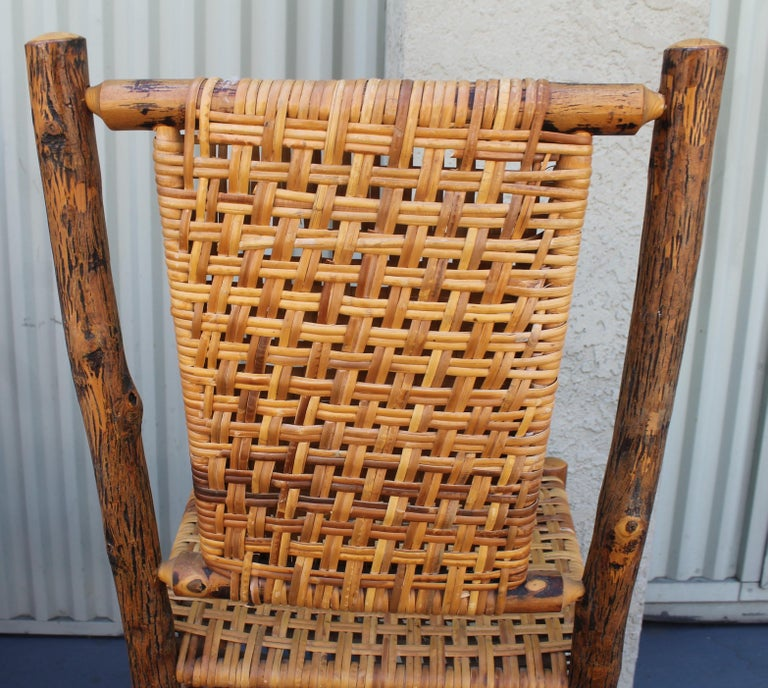 Hand-Crafted Old Hickory Camp Chairs or Set of Six For Sale