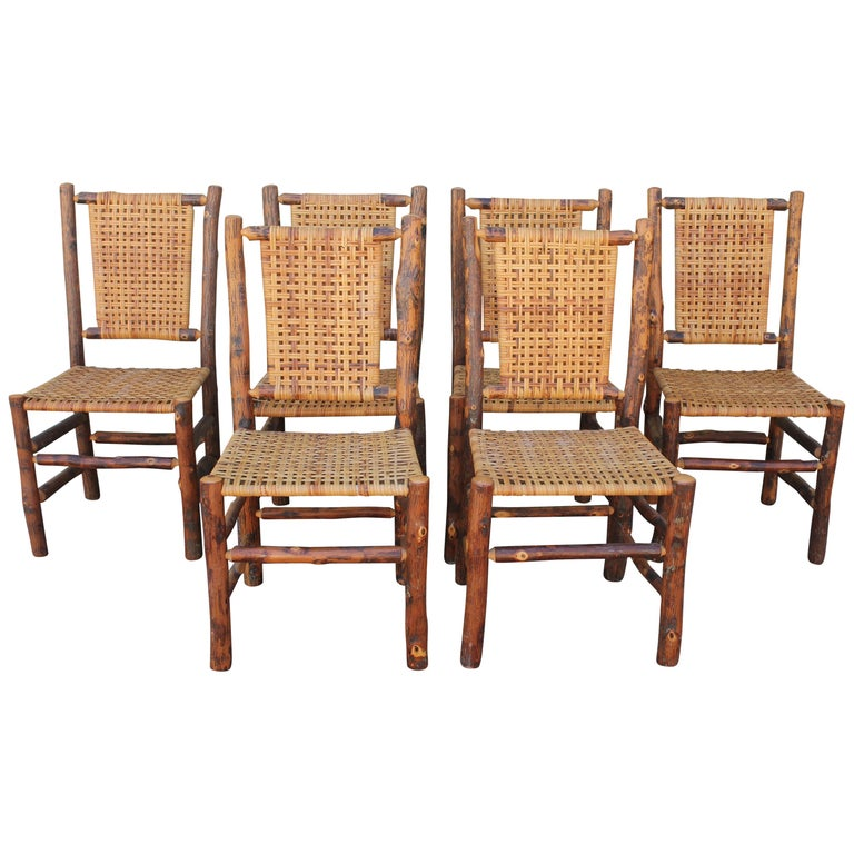 Old Hickory Camp Chairs or Set of Six For Sale