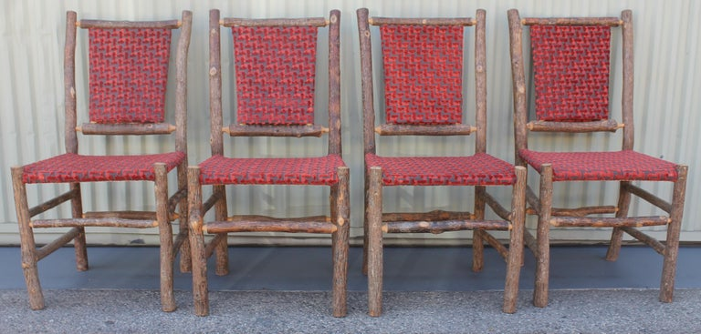 Hand-Crafted Old Hickory Chairs Upholstered Seat and Backs or Set of Four For Sale