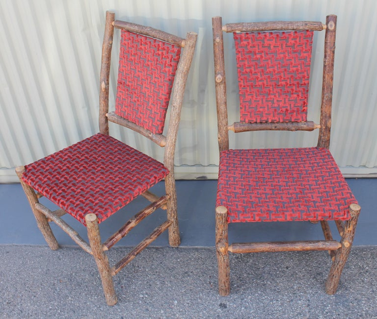 Mid-20th Century Old Hickory Chairs Upholstered Seat and Backs or Set of Four For Sale