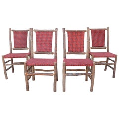Old Hickory Chairs Upholstered Seat and Backs or Set of Four