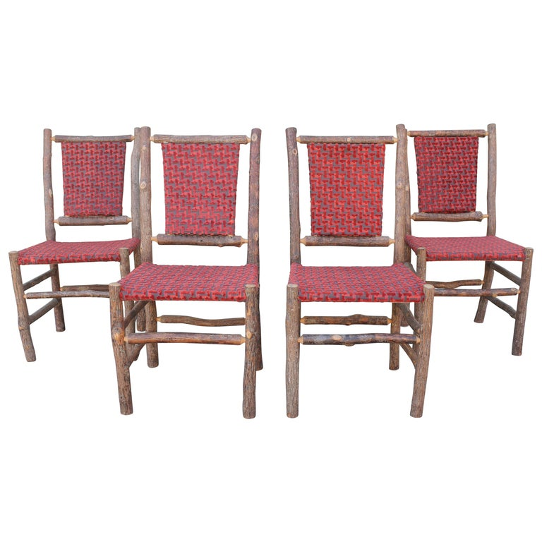 Old Hickory Chairs Upholstered Seat and Backs or Set of Four For Sale