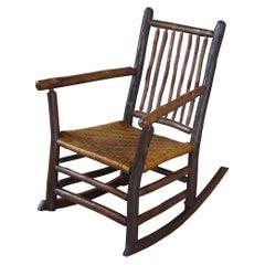 Old Hickory Rattan Adirondack Rocking Arm Chair Rustic Farmhouse Lodge #25