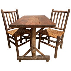 Old Hickory Rustic Davenport Form Table with Two Matching Chairs, circa 1940s