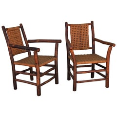 Old Hickory Side Chairs, Pair