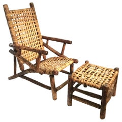 Old Hickory Style Chair and Ottoman