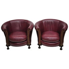 Old Hickory Tannery Burgundy Leather Ball & Claw Round Club Lounge Chairs, Pair