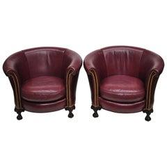 Paar runde Old-Hickory-Clubsessel mit Klauenfüßen und burgunderrotem Leder