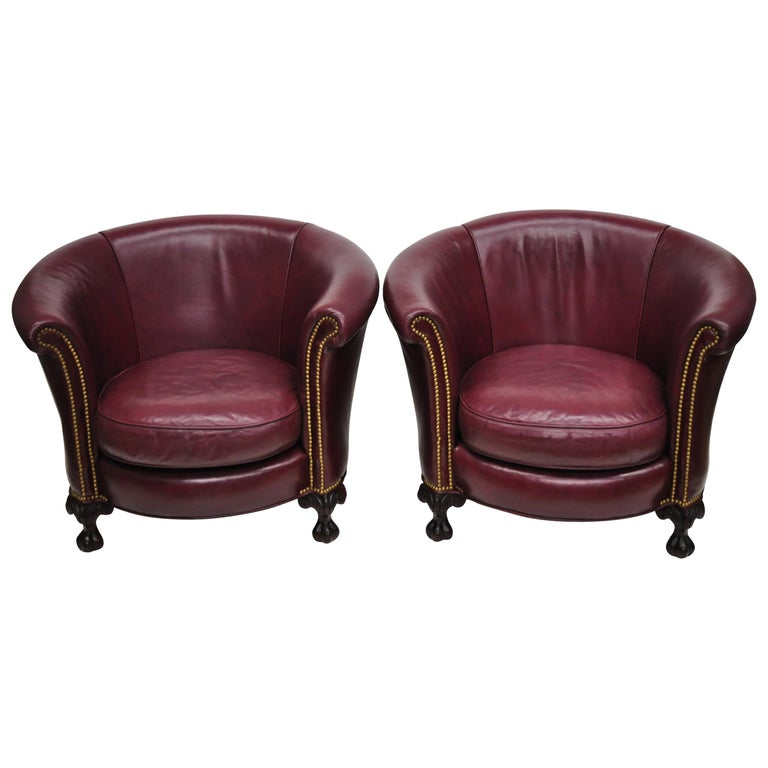 Round Chairs For Sale: Old Hickory Tannery Burgundy Leather Ball And Claw Round