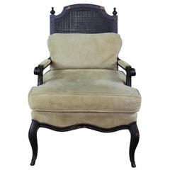 Old Hickory Tannery Horchow Fauteuil Caned Bergere Provincial Suede Arm Chair