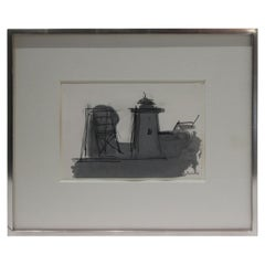"""Old Highland Light"" Provincetown Ink Wash on Paper by Paul Resika"