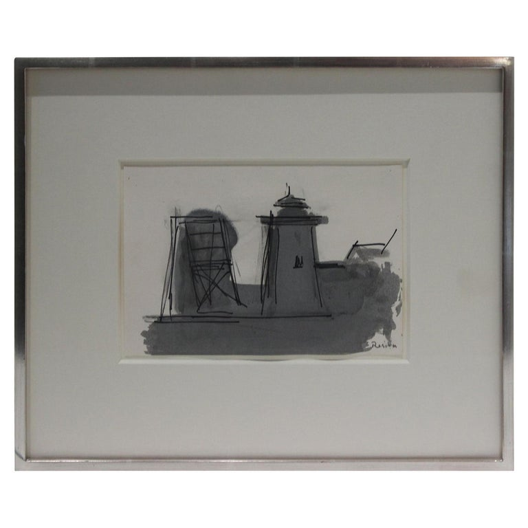 """""""Old Highland Light"""" Provincetown Ink Wash on Paper by Paul Resika For Sale"""