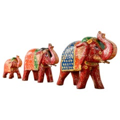 Old Indian Hand Painted Elephants, 20th Century