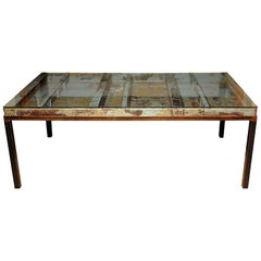 Old Industrial Steel & Tole Coffee Table with Glass Top, Custom Base