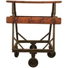 Old Iron Wood Industrial Rolling Cart Leather, 1920s