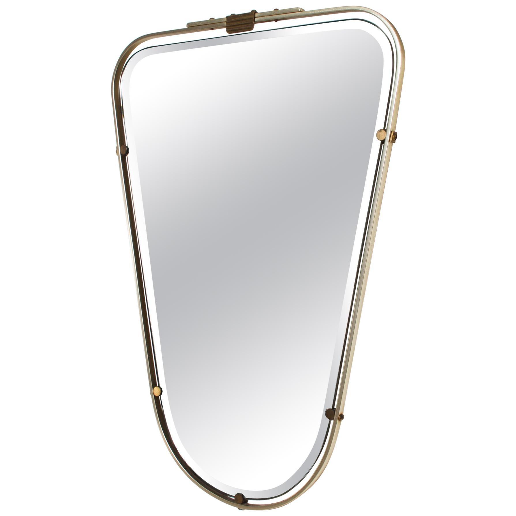 Fontana Arte Regency Elongated Wall Mirror Elegant Shield Style Gio Ponti 1950s